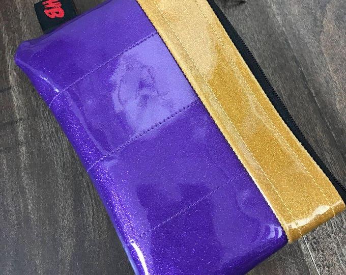 Zippered Pouch- Sparkle vinyl coin purse/change purse (Purple & Gold)