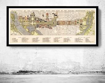 Vintage Map of Washington Capitol 1841
