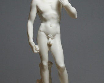 King DAVID Michelangelo Alabaster Statue Sculpture Handmade 9.25in -