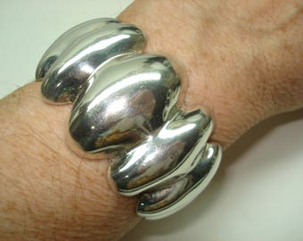 Sterling Silver Oval Cuff Bracelet Taxco Mexican