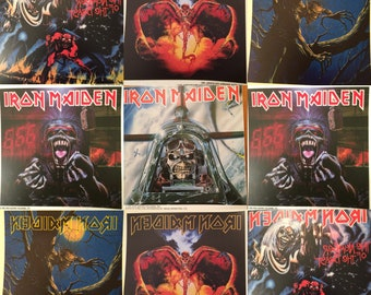 Various Iron Maiden window Clings 6x6 vintage NOS