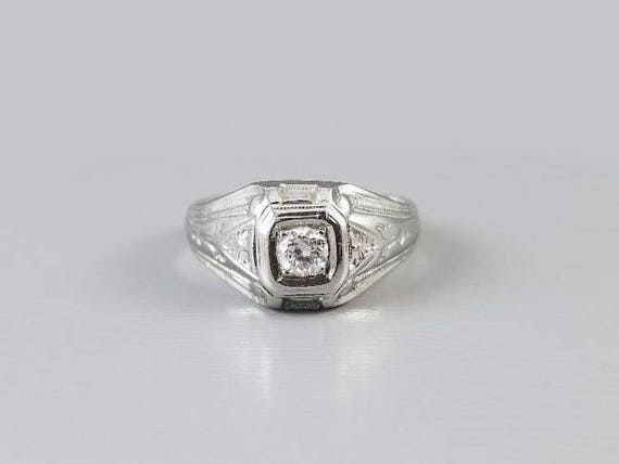 Antique Art Deco 18k white gold .23 carat diamond solitaire ring, mans ring, mens ring, dome ring, unisex, size 8.5, 1930, Eugene