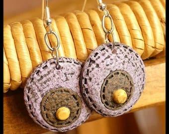 Purple brown polymer earrings