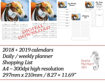 """Printable Greyhound calendar 2018 / 2019 and planners - """"Clyde"""""""