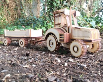 Tractor & Trailer Plywood Laser Cut Model