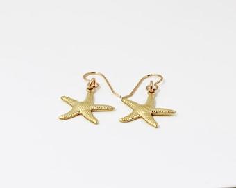 Brass Starfish Earrings, Starfish Jewelry, Nautical Earrings, Beach Earrings, Beach Jewelry, Beach Inspired, Beach Wedding, Tropical Jewelry