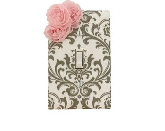 Grey Damask  Light Switch Plate-Pink White Grey Switch Cover-Girls Bedroom-Pink Grey Outlet Cover- Nursery Decor- Bella Girls Premier Prints