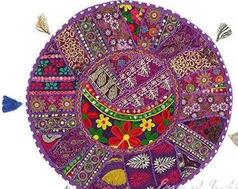 Beautiful Round  Patchwork Pouffe,Indian Home Decorative Ottoman Patchwork Foot Stool  Cushion,Embroidered Decorative Vintage Cotton 32''