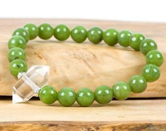 Nephrite Jade Bracelet, Good Luck Bracelet, Calming Bracelet, White Quartz, Gemstone Bracelet, Handmade Jewelry, Gemstone Jewelry