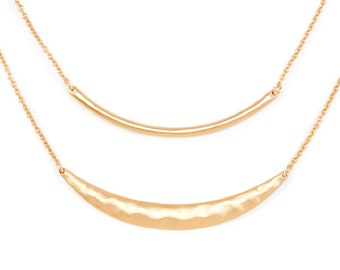 Delicately Yours™ Necklaces - Hammered Crescent Bars - Gold Tone - 2 pieces