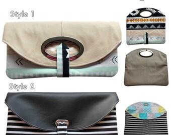 The Peekaboo Clutch - PDF Sewing Pattern - Instant download, Handbag, Clutch, Foldover Clutch Pattern