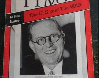 Spring Sale Vintage WW2 1939 Time Magazine The US and The War