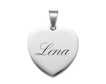 Personalised Necklace – Engraved with Name or Initials - Heart Pendant and Necklace - Stainless Steel - Jewellery - Christmas Gift