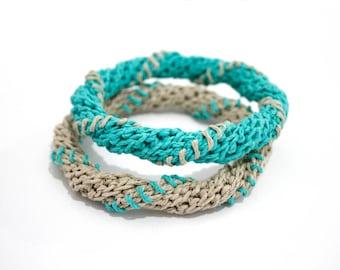 Hemp bangles,hemp bracelets,stacking bangles,teal,fiber bangles,set of two,boho chic,crochet jewelry,spiral bracelets,gift for her,vegan
