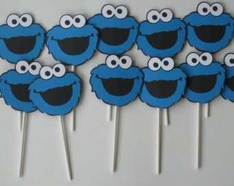 24 Sesame Street Cookie Monster Cupcake Toppers