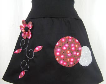 Skirt Chihiro black and fuchsia flowers