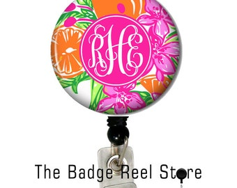 Name Badge Holder, Retractable ID Badge Holder, Name Tag, Personalized, Name, Badge Reel, ID holder, Nurse, Monogrammed - Preppy