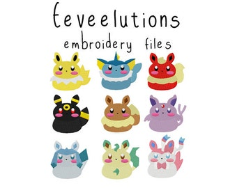Pokemon Eeveelutions EMBROIDERY MACHINE FILES pattern design hus jef pes dst all formats Instant Download digital applique kawaii cute