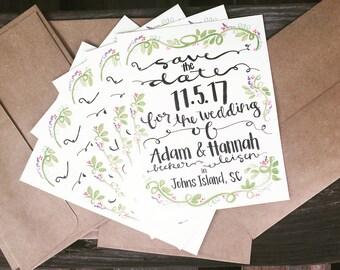 Save the Date, Custom Save the Date, 5x7 Save the Date, Custom Wedding Invitations, Custom Wedding Paper, Handmade Watercolor Art Print