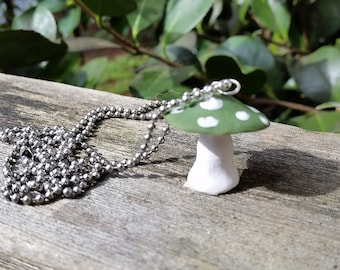 Green amanita clay necklace with chain