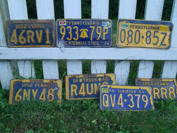 & Vintage Pennsylvania license plate lot 7 antique metal