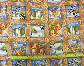 "Frames ""Safari Animals"" by Timless Tresures PATT# D# KIDZ - C9326, designer fabric, cotton fabric, baby girl, quilting, bedding,  children"