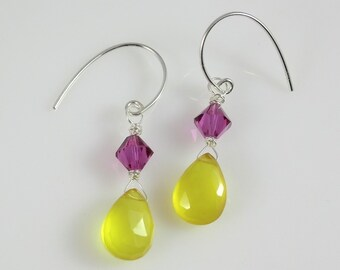 Sterling Silver Yellow Chalcedony and Fuchsia Swarovski Crystal Dangle Earrings