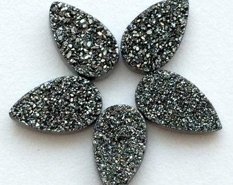 6 Pcs 17x10mm Charcoal Druzy, Titanium Charcoal Druzy, Matched Pairs, Charcoal Pear Druzy, Druzy Jewelry, Druzy Cabochon, Druzy Bead