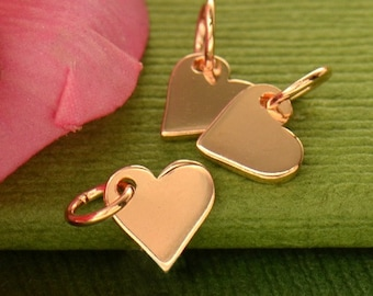 Rose Gold Charms - Tiny Heart with 18K Rose Gold Plate-LOVE-Amor