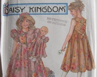 ON SALE 1990's Sewing Pattern - Simplicity 7550 girls dress, hat doll dress, Size 3-6, Uncut, Factory Folded