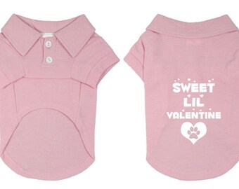 Sweet Lil Valentine Dog Polo T-Shirt for Valentine's Day. Puppy Dog Shirt. Cute Dog Quotes. Small Pet Clothes.