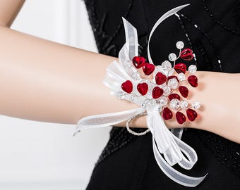 Limited Edition Red and White Corsage - Red Hearts Wrist Corsage