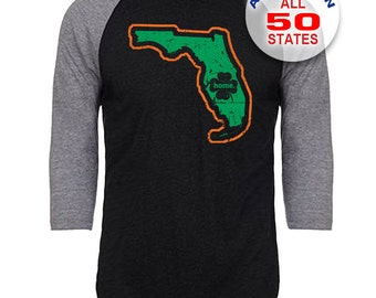 Florida Home State Irish Shamrock - Unisex Tri-Blend 3/4 Sleeve Raglan Baseball T-Shirt - Sizes S-3XL