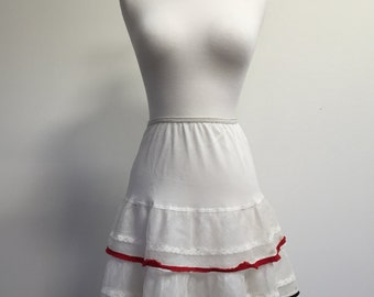 50s ruffled white petticoat with red and black stripe accents/ Rockabilly/ Burlesque