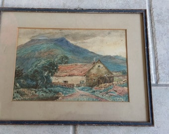 Vintage Original Watercolour of Cottage and Mountain