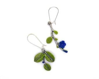 Metal - Blue Flower Earrings