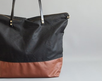 leather diaper bag - SKYE - Large Black waxed CANVAS top and Tan LEATHER base carry all Zip Tote Everyday Market Bag