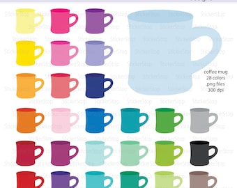 Coffee Mug Icon Digital Clipart in Rainbow Colors - Instant download PNG files