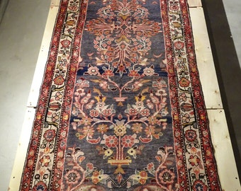 "Vintage Persian Rug 1950's HAMEDAN 3' 5"" x 10' Handmade, Hand-knotted, Natural Dyes, Bohemian, Boho Chic, Made in Iran 844m"