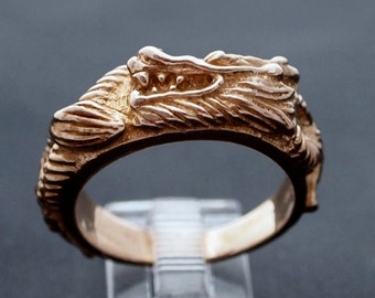 Asian Dragon Ring In Antique Bronze