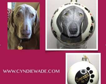 Dog Painted Christmas Ornament Custom Dog Portrait