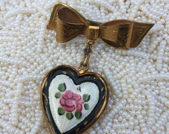 Vintage Black Guilloche Painted Rose Heart Locket with Bow Pin Brooch,Estate Jewelry, Sweetheart Gift