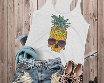 Skull Tank Top, Pineapple Tank, Womens Tank Top, Sugar Skull Clothing, Skull Shirts, Workout tank, Gym tank, Fitness tank, Pineapple shirt