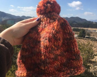 Orange/Peach Pom Pom Beanie, Toque