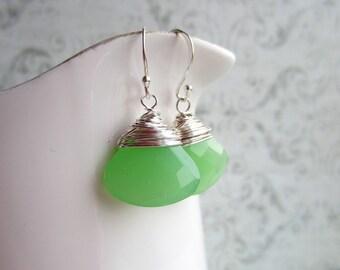 Green Chalcedony Earrings, Green Earrings, Gemstone Drop Earrings, Swedish Jewelry Design, Made in Sweden