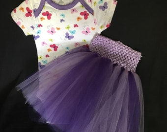 Infant Girl Tutu Skirt and OneZ  Set Size 6-9 Months