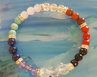 Chakra Balance and Wellness Bracelet with Crystal spacers