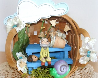 Miniature Elf Garden in Basket Fairy Garden Hand Crafted Table Arrangement Centerpiece Table Decor One-of-a-Kind Well Secured Humorous Gift