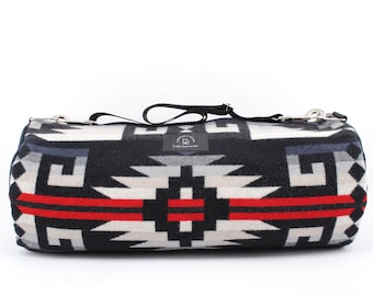 Wool Weekender Duffel Bag in Red/Grey/Black