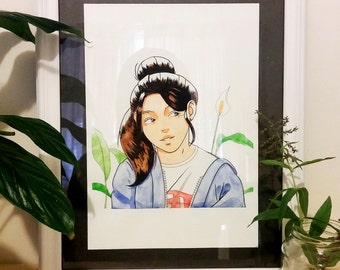 Original Illustration in Watercolour & Ink - Lillies Girl A4 Painting